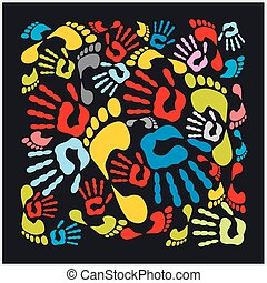 Mixed colour handprints and footprints - vector illustration.