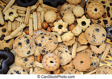 Mixed cookies background