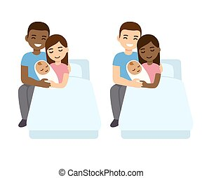 Interracial couple with newborn biracial baby in hospital bed. Cute cartoon vector illustration of mixed race family.