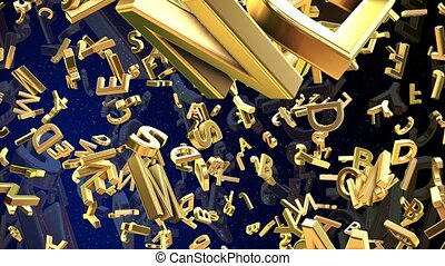 Mixed different letters in gold