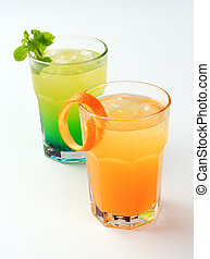 A couple of mixed drinks isolated on white