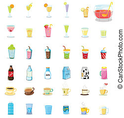 Mixed drinks - Illustration of mixed drinks on white