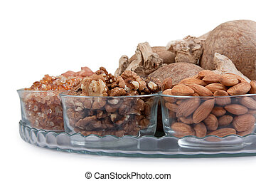 Mixed dry fruits in glass bowl