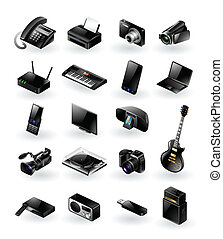 Mixed electronics icon set