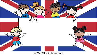 mixed ethnic children great britain - great britain flag...