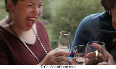 Mixed ethnic group of senior women laughing and cheering with drinks