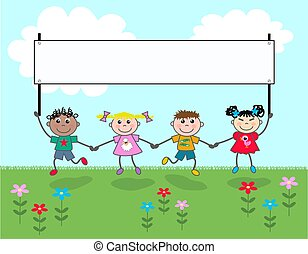mixed ethnic kids with a banner
