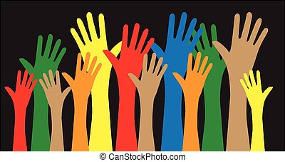 mixed ethnic reaching hands