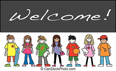 mixed ethnic teens placard header or banner