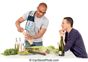 Mixed ethnicity gay couple kitchen - Attractive young mixed ...