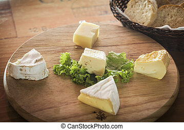 mixed french cheese platter with bread
