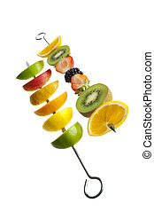 mixed fresh fruit on a skewer