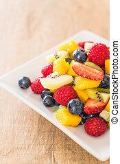 mixed fresh fruits (strawberry, raspberry, blueberry, kiwi, mango)