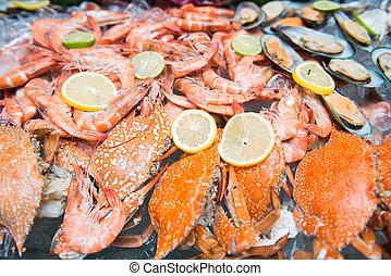 mixed fresh seafood on ice
