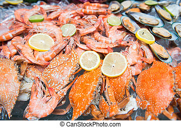 mixed fresh seafood on ice
