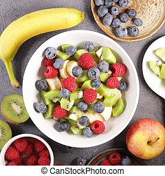 mixed fruit salad with ingredient, top view