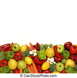 mixed fruits and vegetables on white