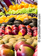 mixed fruits in market