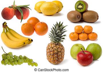 mixed fruits - mixed fresh fruits on white close up