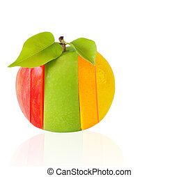 Mixed Fruits - Mixed fruits with pear leaves isolated on...