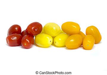 Mixed grape tomatoes - Mixed Grape tomatoes on a white...