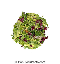 Mixed green and purple salad in glass bowl