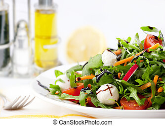 Mixed green Salad - lettuce,carrot,ruccola,Fresh Mozzarella,...
