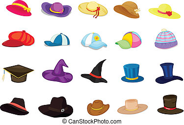 Illustration of mixed hats on white