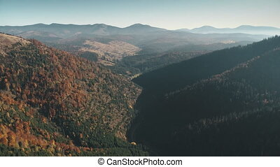 mixed hilly forests lit by autumn morning sunlight against transparent mist and pictorial hills on horizon upper view. Carpathian mountains, Ukraine beauty nature. Travel, holidays, wild. 4K