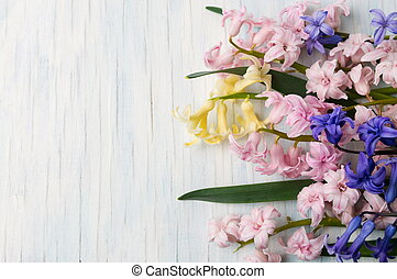 hyacinth flowers on a wooden table