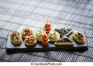 mixed international tapas platter