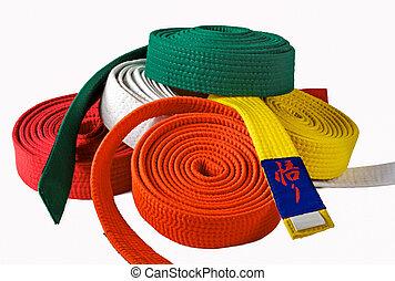 Mixed Karate belts on white