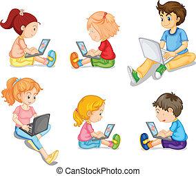 Mixed kids - Illustration of mixed kids on white