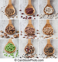 Mixed legumes collage