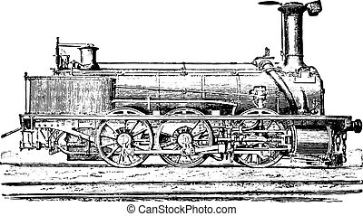 Mixed machine with three coupled axles for passenger trains and goods, vintage engraving.