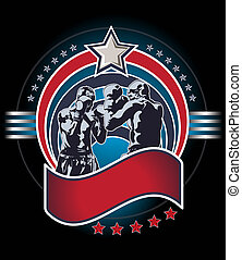 mixed martial art fighters icon or emblem - Blue and red...