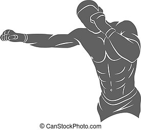 Mixed Martial Art - Silhouette mixed martial arts fighter on...