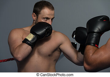 Mixed Martial Artists Fighting - Punching