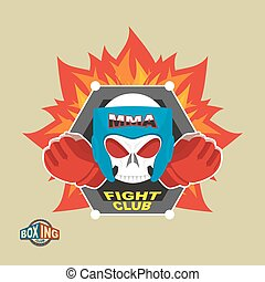Mixed Martial Arts Labels. Skull