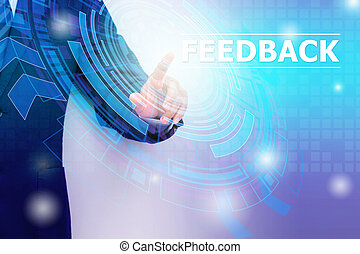 Mixed media. Double exposure of Businessman hand pointing Feedback with technology graphic background