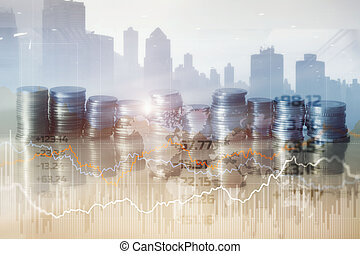Mixed Media Finance Background. Economy trends concept