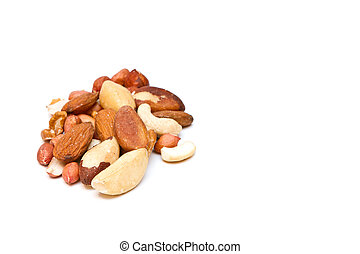 mixed nuts on white with copy space