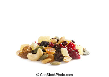 Mixed Nuts with Dried Fruit - A stack / heap of different...