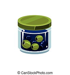 Mixed Olives In Transparent Jar