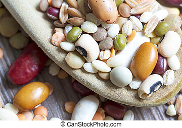 Mixed pulses on a wooden background