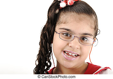 Mixed race adorable cute little school girl portrait, arabic - african - american