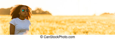 Mixed Race African American Girl Teen Sunglasses Standing Wheat Field
