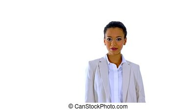 Mixed race business woman talking to the camera, isolated on...