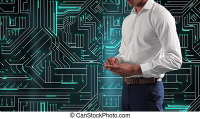 Animation of Caucasian man using smartphone over microprocessor connections. Global economy and technology concept digital composite