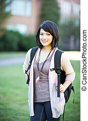 Mixed race college student - A portrait of a mixed race...